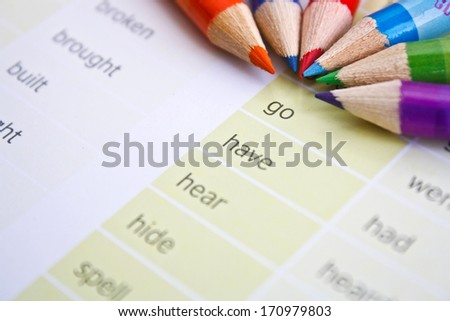 Inspiration background, color pencils with inspiration motivation words
