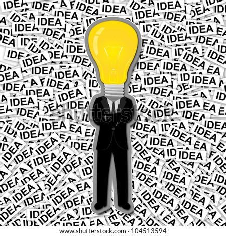 Inspiration Concept, The Man With Yellow Light Bulb Head Stand on Many Idea Label Background