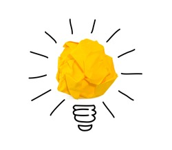 Inspiration crumpled yellow paper light bulb idea