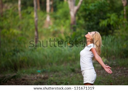 inspiration, enjoying the summer, young woman outdoors