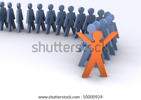 Inspiration Illustration showing success and someone standing out from the crowd.