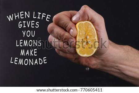 Inspiration motivation quotation when life gives you lemons make a lemonade. Choice concept #770605411