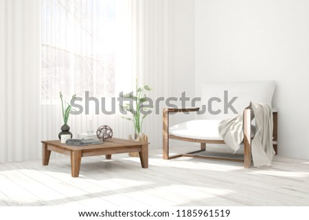 Inspiration of white minimalist room with armchair. Scandinavian interior design. 3D illustration #1185961519