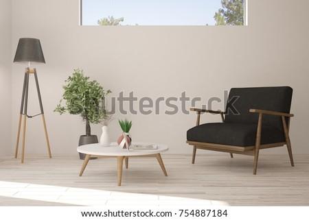 Inspiration of white minimalist room with armchair. Scandinavian interior design. 3D illustration