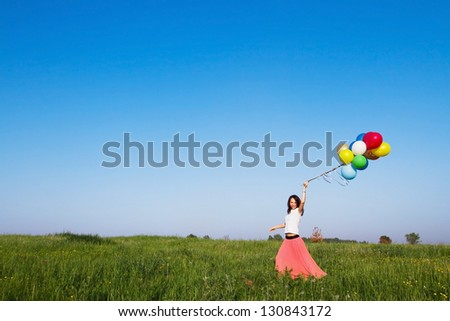 inspiration, picture about holidays or dreams, smiling woman - stock photo