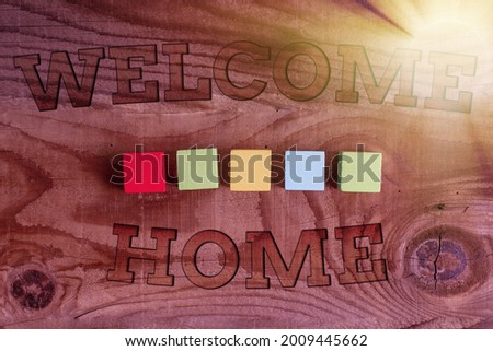 Inspiration showing sign Welcome Home. Conceptual photo Expression Greetings New Owners Domicile Doormat Entry Building An Unfinished White Jigsaw Pattern Puzzle With Missing Last Piece Stock photo ©