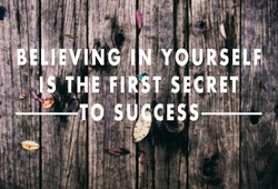 Inspirational quotes - Believing in yourself is the first secret to success. Retro styled blurry background.