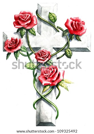 inspirational religious clip art stone granite cross red pink roses, green ivy vine abstract design frame cross, hand paint watercolor cross Christian church bulletin sympathy card, memorial day image