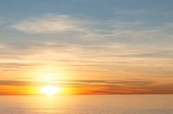 Inspirational tranquil sea with sunset sky. Colorful horizon over the calm water. Batumi, Georgia.