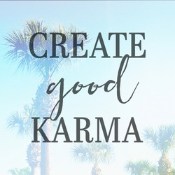 Inspirational Typographic Quote - Create good Karma - with palm trees in background