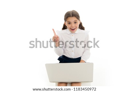 Inspiring idea. Schoolgirl work play laptop isolated on white. Child got inspiration while surfing internet. Inspiring technology concept. Online education and modern schooling. Inspired pupil study. #1183450972