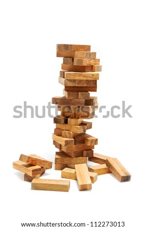 Instability building blocks at risk concept,on white background