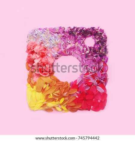 Instagram floral  logo on pink background
