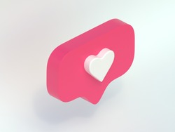 instagram like, isometric icon, pink 3d design illustration of the notification on the social media, 3d render, pink