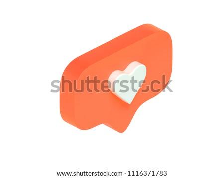 instagram like, isometric icon, pink 3d design illustration of the notification on the social media, 3d render, orange #1116371783