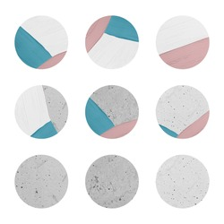 Instagram social media highlight cover icons for interior design, fashion, beauty content. Pastel pink and gray color circles in brush stain and concrete texture.