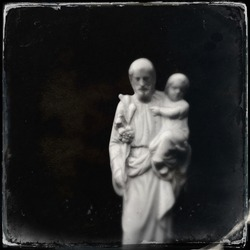 Instagram style image of Saint Christopher and the Christ Child (soft focus)