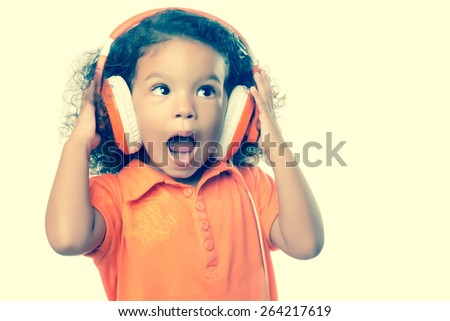 royalty free instagram toned small girl listening to