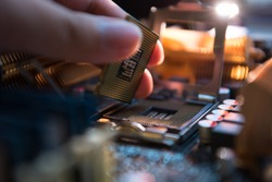 Installation CPU on socket of motherboard