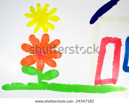Installation from plasticine of the house with a flower on green and sun