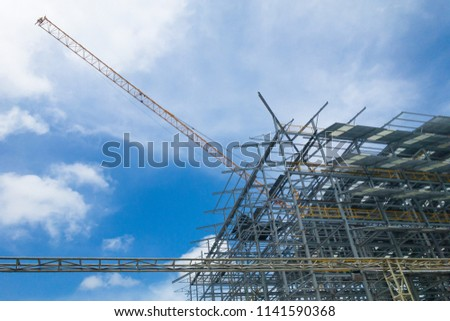 Installation of building structures using Tower crane. #1141590368