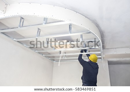 Installation of suspended ceilings. Finishing works