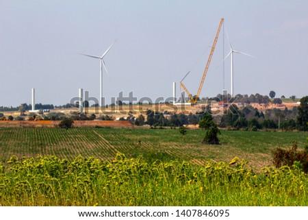 installation wind turbine with blue sky background. #1407846095