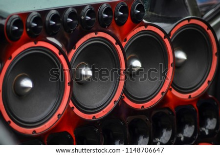 Installed powerful audio speakers in front door of the car