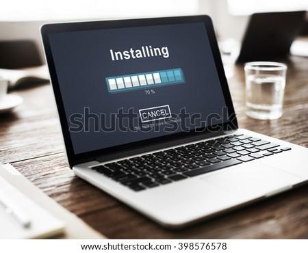 Installing Bar Load Waiting Indicator Concept Stock photo ©