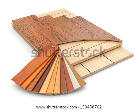 Installing laminate floor and wood samples 3d