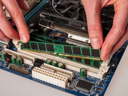 installing RAM modules in the computer motherboard, replacing and repairing computer components, increasing the amount of random access memory
