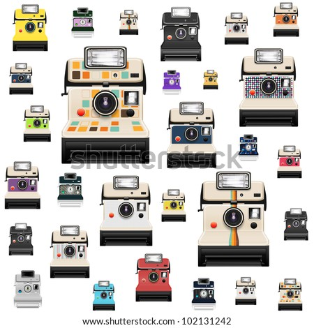 instant camera pattern ,retro style