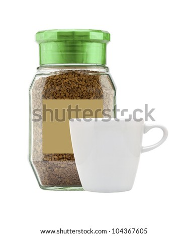 Instant coffee in glass bank-fragrant and white cup isolated on white