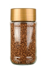 Instant coffee jar isolated on white background. With clipping path