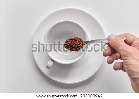 instant coffee with cup