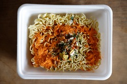 instant noodle in cup top view