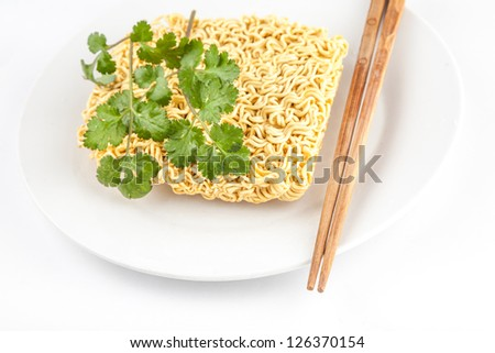 instant noodle in white dish with chopstick