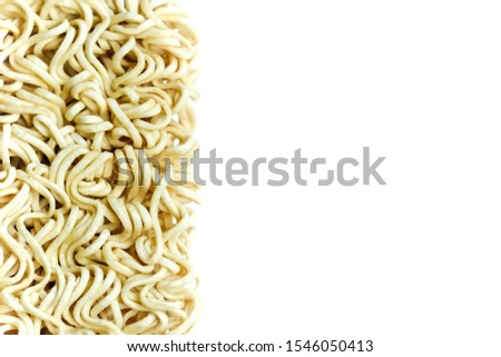 Instant noodles, Expired instant noodles and has moldy isolated on white background,with copy space. Concept do not eat food expiration because it is not good for health.