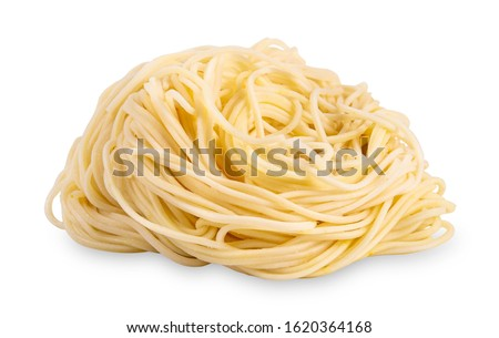 instant noodles isolated on white background. egg noodles isolated on white background. Chinese noodles isolated on white background with clipping path ストックフォト ©