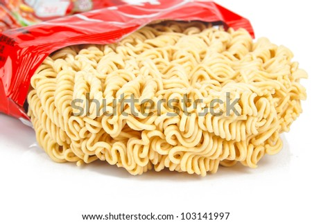 Instant noodles on white background