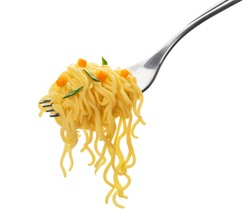 Instant noodles, pasta with fork isolated on white background with clipping path