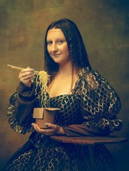 Instant noodles. Young woman as Mona Lisa, La Gioconda isolated on dark green background. Retro style, comparison of eras concept. Beautiful female model like classic historical character, old