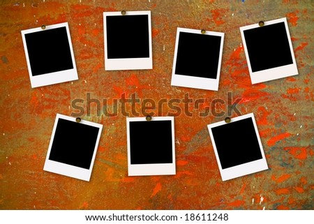 instant photo films on grunge painted background