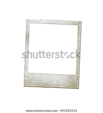 Instant photo frame isolated on white background. Retro photo. Picture frame. Retro photo #445342216