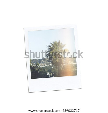 Instant photo isolated on white background. Picture frame. Retro photo #439033717