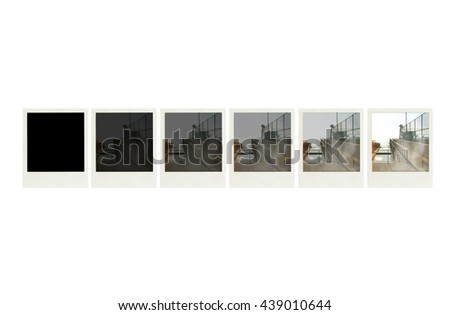 Instant photo isolated on white background. Retro photo #439010644