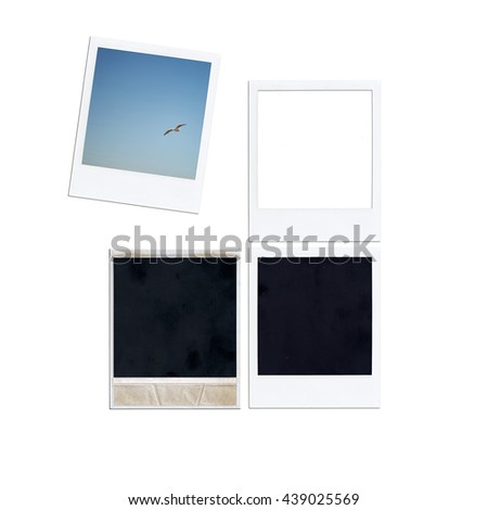 Instant photo isolated on white background. Retro photo #439025569