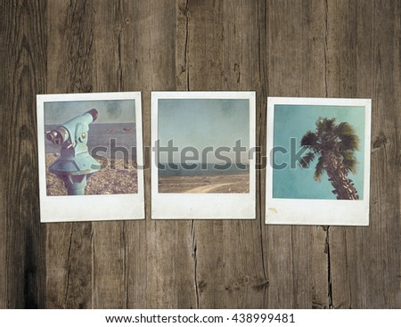 Instant photo on wood. Picture frame. Retro photo #438999481