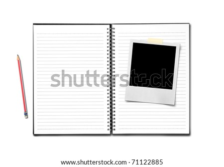 instant photo pencil and notebook on white backfround