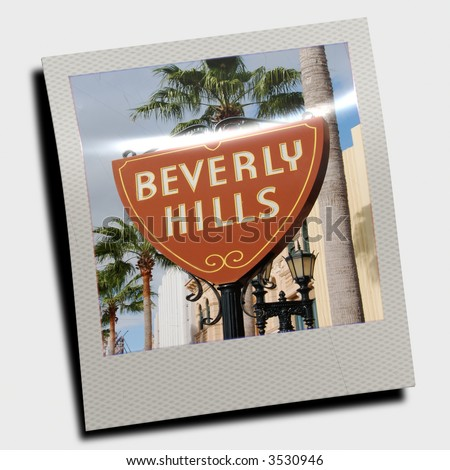 instant photo slide of Beverly Hills sign